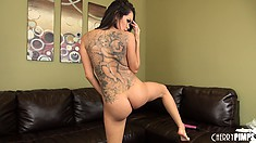 Daisy Marie is a sexy tattooed brunette babe that likes to go solo