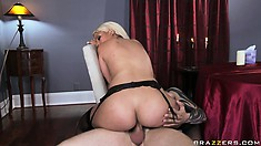 This blonde makes sure to never break eye contact as she blows