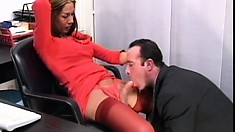 Hot young brunette gets banged by a tranny in an intense office threesome